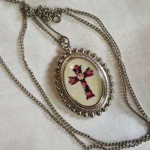 New Silver Tone Cross Bead Locket Necklace